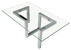 stainless steel and glass custom design coffee table