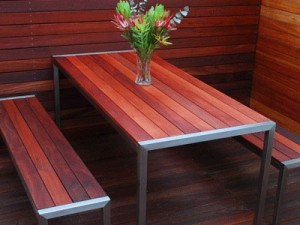 outdoor stainless teeel and timber table and seating