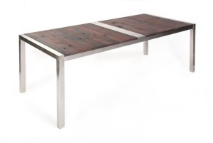 Stainless steel and timber table